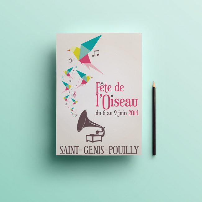 Création graphique de l'affiche de la fête de l'Oiseau du Pays de Gex